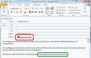 Ersätt bilagor med länkar i e-posten