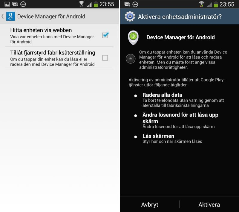 Google Device Manager för Android