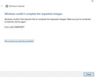 Problem att installera .Net Framework 3.5 i Windows 10